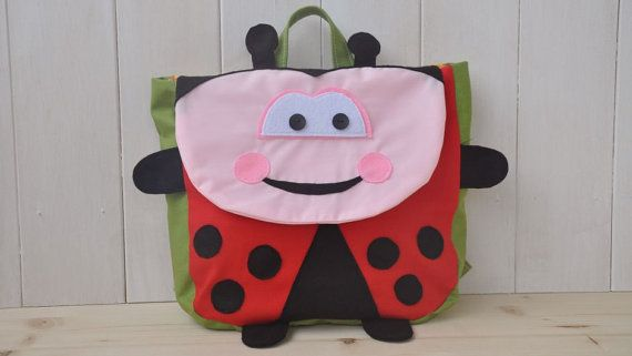 """Backpack """"Buggy"""" (Beautiful colors for this ladybug shape backpack, 100% cotton, adjustable straps, easy velcro closure and lining inside)"""