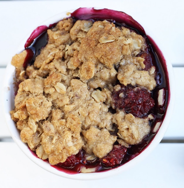 "Berry Crisp Recipe - ""I love Charleston for so many reasons & one of them is the berry cobbler at Kaminsky's on Market St. Served in the bowl that it was baked in, it mixes blueberries, blackberries & raspberries with a buttery topping & a scoop of vanilla ice cream. It has taken years to find a recipe that is as a good as the Kaminsky's berry cobbler, much less better & here it is!"""