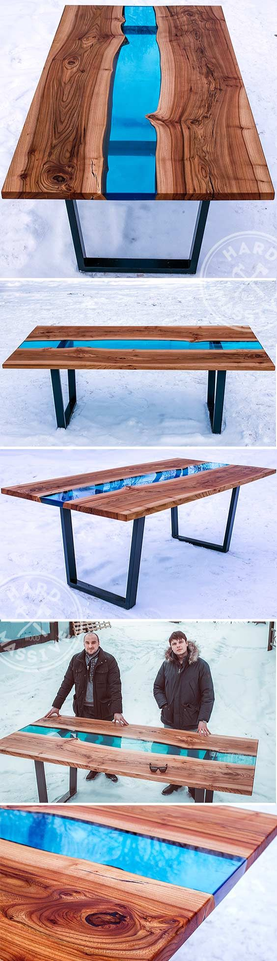 Wood dining with wrought iron quot clasp quot base very popular dining - Beautiful Dining Table Made Of Wooden Slabs Elm With The Live Edges And Of The Glass