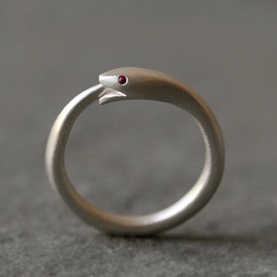Ouroboros Snake Ring in Sterling Silver with Rubies or Sapphires