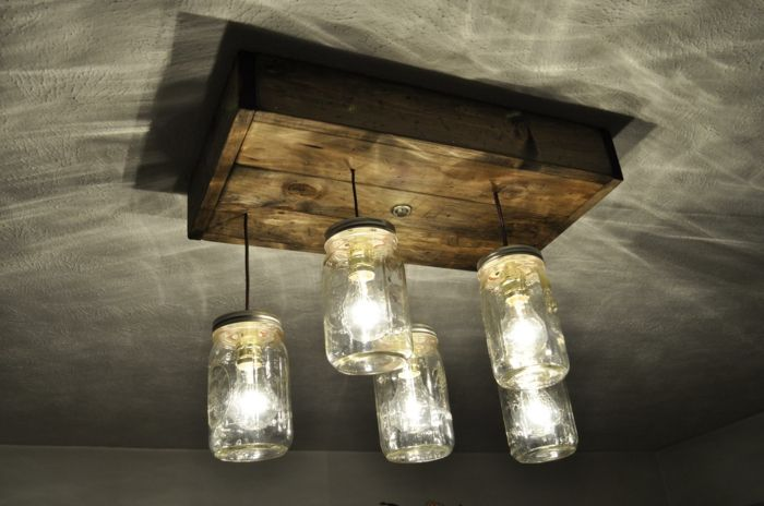 luminaire fait maison idée avec bocaux en verre | Homemade chandelier, Diy chandelier, Mason jar ...