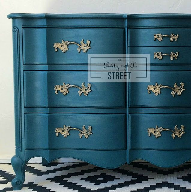 Painted Peacock Blue Dresser