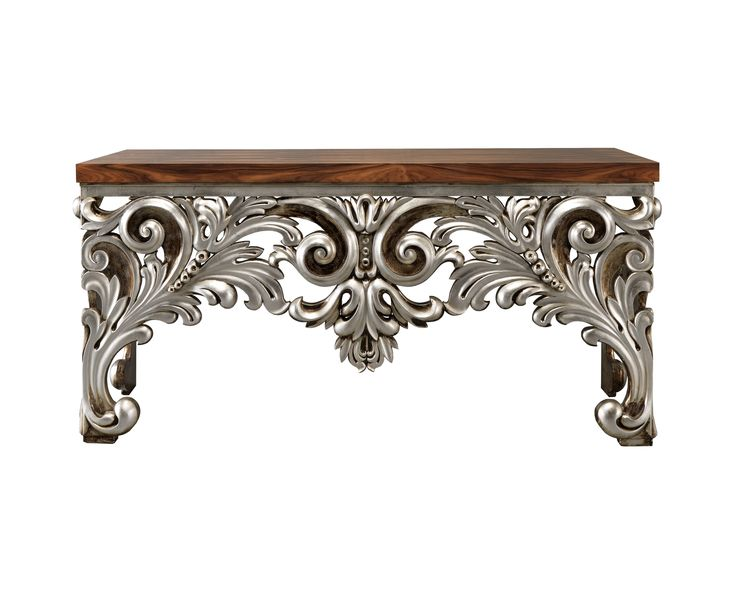 Laskasas | Kansas Console Table | Kansas is a mesmerizing console devised masterfully, rich in details, customizable, here with wood-paneled top and silver carved finishes on the base. A one of a kind piece in your luxury interior design. |  www.laskasas.com