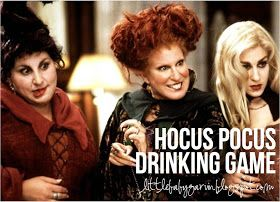 """Hocus Pocus Drinking Game!!!!ake One Drink Every Time: Winifred calls for her """"Boooooook"""" Mary smells a child Sarah says something stupid Dani cries or whines about something Billy Butcherson loses a limb Thackary Binx loses a life The witches fly on their brooms... or mops or vacuum cleaner"""