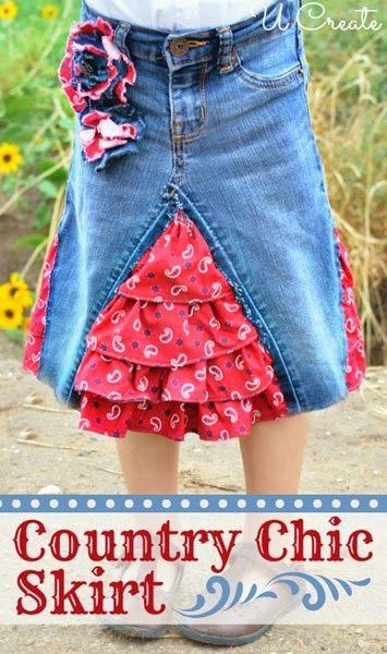 Country Chic Skirt tutorial at U-createcrafts.com
