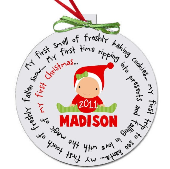 baby's first christmas ornament personalized for a girl or a boy - great custom new baby christmas gift. $15.00, via Etsy.