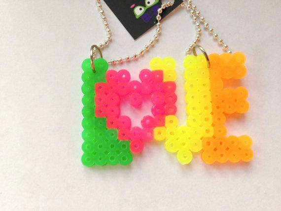 LOVE Neon Perler Beads Necklace by CositasAyM
