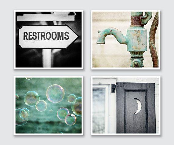 Restroom Decor, Bathroom Decor, Bathroom Art, Rustic Bathroom, Teal Bathroom, Bathroom Gallery Wall, Print set for Powder Room, Kids Bath.
