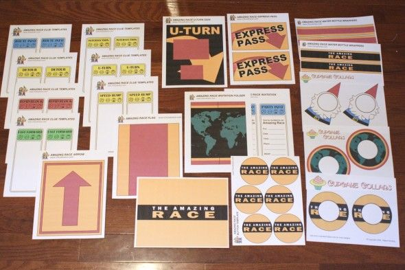 The Amazing Race party printables