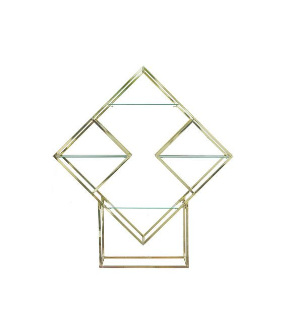 Milo Baughman Style Brass Diamond Etagère