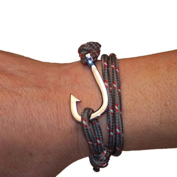 Fish Hook Bracelet, Grey/Red Paracord, Silver Stainless Steel clasp…