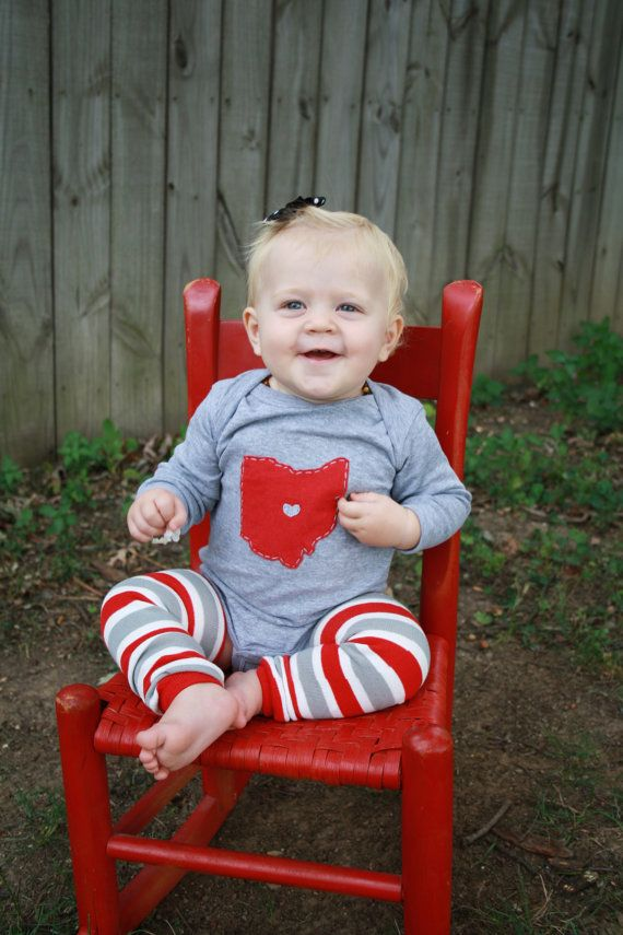 Ohio LOVE, GREY State of Ohio Bodysuit with heart, great baby shower gift, father's day gift, new dad on Etsy, $19.50