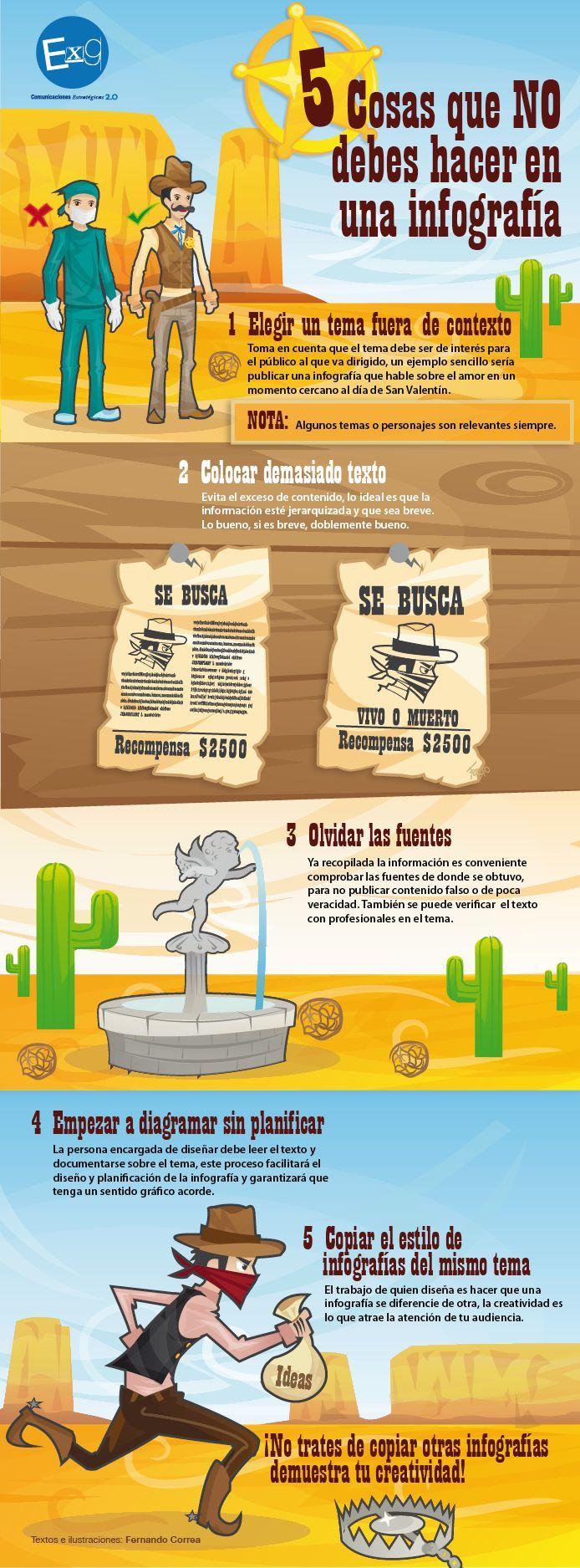 5 cosas que no debes hacer en una infografía #infografia