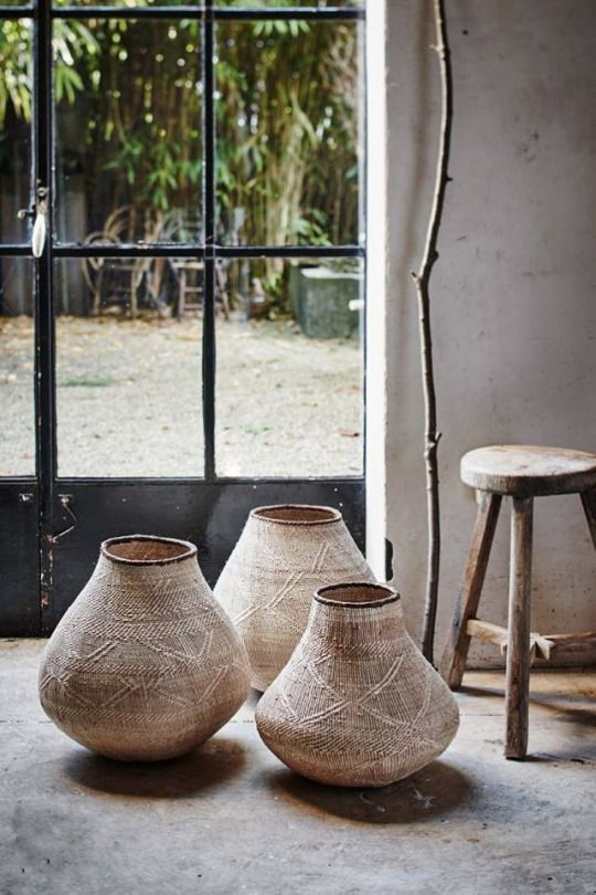 Nongo baskets, handmade in Zimbabwe. A contemporary ilala palm basket, developed by Design Afrika, based on age-old weaving techniques.