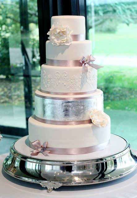 5 Tier Wedding Cake with Stencil work and Silver Leaf by Say it with Cake, via Flickr