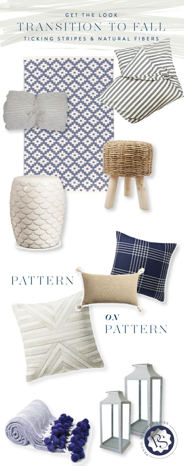 Update your decor for fall with some variations on classic designs. Houndstooth, wool plaids, raffia, and ticking stripes come together for a menswear-meets-Malibu look. www.pencilshavingsstudio.com