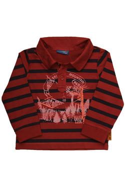 Boys long-sleeved striped fashion golfer with a placement print and contrast embroidery detail. From Naartjie Kids SA.