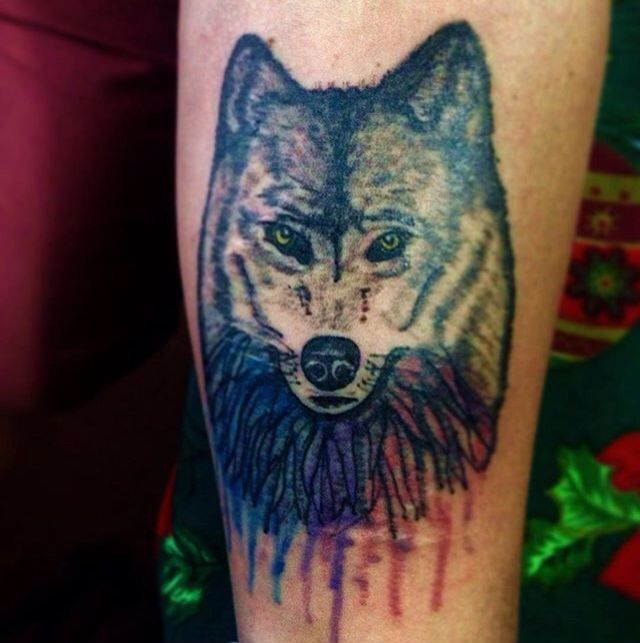 #watercolor #wolf #tattoo
