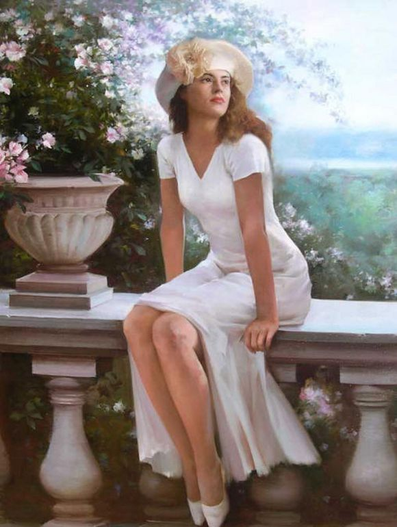Aesthetic, romantic and lyrical ... Paintings of women, usually caught in a moment of contemplation.