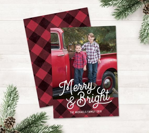 Buffalo Plaid Photo Christmas Cards With Photo Christmas Card Etsy In 2020 Christmas Photo Cards Holiday Photo Cards Holiday Design Card