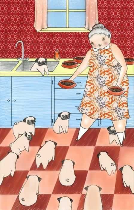 basically me in 50 years timeCrazy Pugs, Pugs Hoarding, Dogs, Lady Art, Art Prints, Pugs Lady, 50 Years, Pugs Life, 30 Years