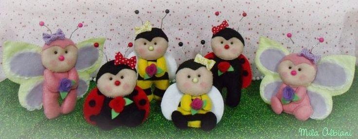 Mariquita, abeja y mariposa en fieltro - PatronesMil