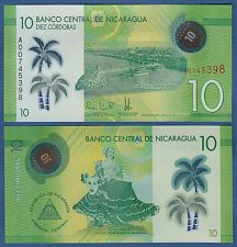 NIKARAGUA / NICARAGUA 10 Cordobas 2014 (2015) Polymer UNC  P.NEW
