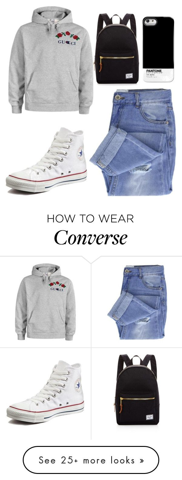 """""""Untitled #475"""" by arcarmona-ac on Polyvore featuring Taya, Gucci, Converse, Herschel Supply Co. and Pantone Universe"""