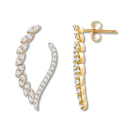 Diamond Earrings 1/2 carat tw Marquise/Round 14K Yellow Gold