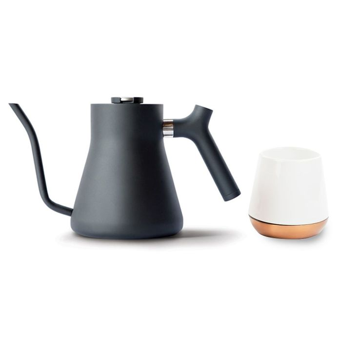 Story  Cream and sugar, Joey?  Stagg Pour-Over Kettle's beautifully functional design kicks your brewing up a notch. Enjoy an intuitive, steady pour with Stagg's precision pour spout. Keep track of temperature with a built in brew-range thermometer. Pour at an even, slow pace with Stagg's counterbalanced handle that moves the center of mass back towards your hand. The perfect pour over every time. We've bundled it with (1) Joey Mug.   Stagg Pour-Over Kettle   Matt Black colorway Limited ...