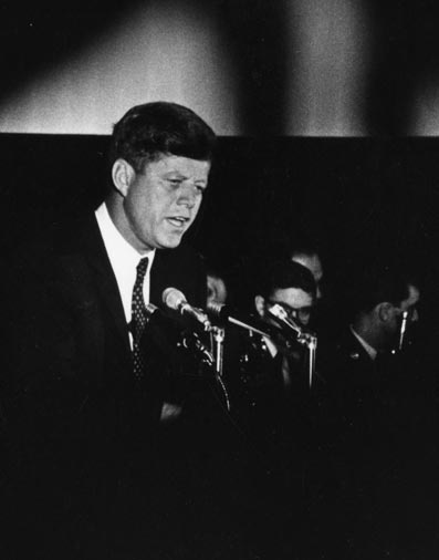 In honor of its 50th anniversary, President Kennedy spoke to the Chamber about the importance of the free enterprise system.