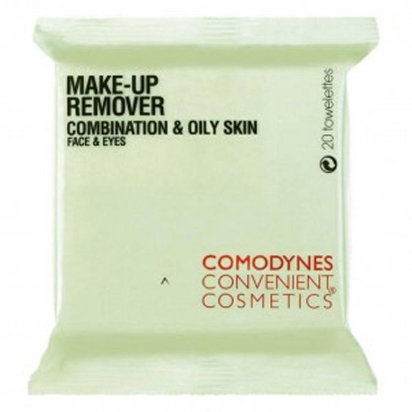 <p><strong>COMODYNES Makeup Remover/Daily Facial Cleanser</strong> is designed for  Combination and Oily Skin. Contains amazing properties of the BURDOCK  plant that leaves your skin refreshed, clean and oil free longer.  Hypoallergenic / dermatologist tested. Removes make-up, tones,  moisturizes – all in a single swipe.</p>