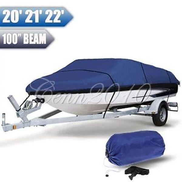 ヘビーデューティ釣りスキーrunboatボートカバー20-22 ft 100インチビーム12vの船体防水ブルー防水キット