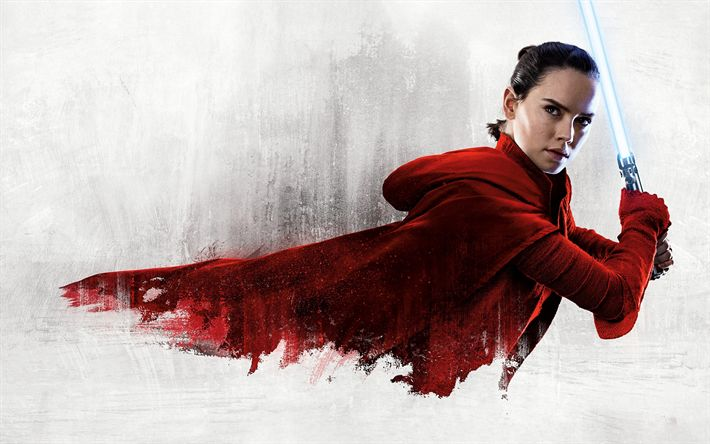 Download wallpapers Star Wars, The Last Jedi, 2017, Rey, Daisy Ridley, English actress