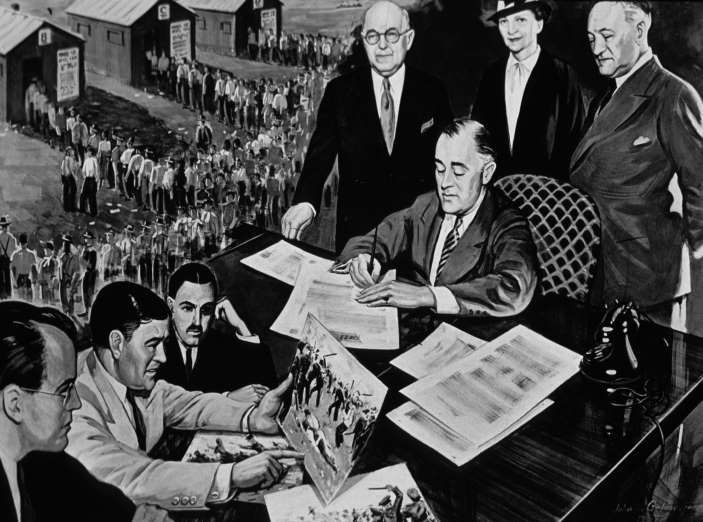July 5,  1935: PRESIDENT ROOSEVELT SIGNS THE NATIONAL LABOR RELATIONS ACT  -    President Franklin D. Roosevelt signs the National Labor Relations Act. The law guarantees basic rights of private sector employees to organize into trade unions, engage in collective bargaining for better terms and conditions at work, and take collective action including strike if necessary.