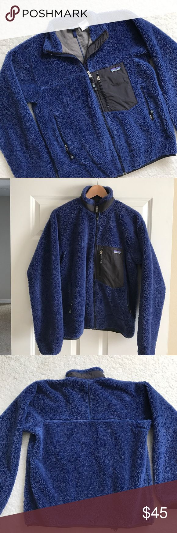"""Patagonia Men's Jacket This jacket is so cute!  Men's size small.  It does show some wash wear and a little bit of matting in spots.  The inside is in great condition.  Measurements laying flat are approximately:  Chest 21"""".  Length 25"""". Patagonia Jackets & Coats"""