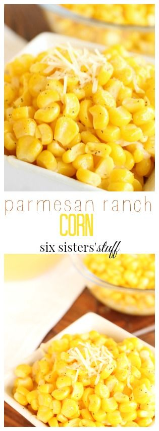 Parmesan Ranch Corn recipe from Six Sisters' Stuff | this side dish was a win win for dinner. It's so easy to make, and it tastes amazing! Just 5 simple ingredients, and it's done in a matter of minutes.