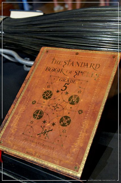 """Harry Potter Exhibition - London Film Museum: Hogwarts book The Standard Book of Spells Grade 5 from The Prisoner of Azkaban by Craig Grobler, via Flickr (I'm pretty sure this is a modified """"Paper Blanks"""" brand journal)."""