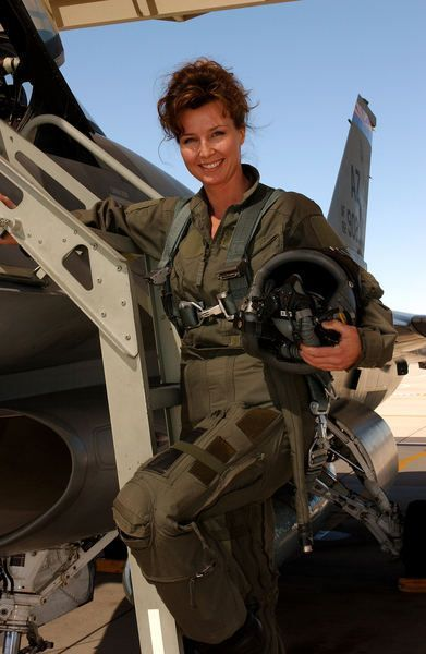 USAF F-16 instructor pilot - Maj. Windy Hendrick. She has a bit of helmet head but who cares!