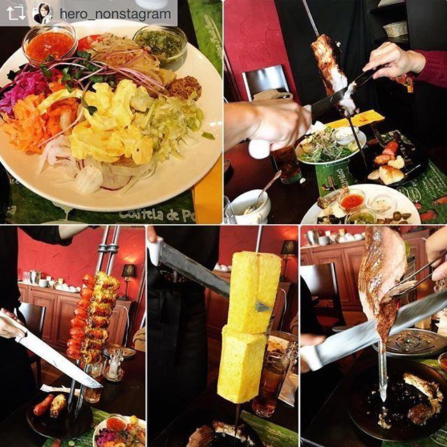 Repost from @hero_nonstagram 初シュラスコ🍖お腹いっぱいなり過ぎてやばかった〜焼きパイナップルびっくり〜🍍 #シュラスコ#ブラジル料理#焼きパイナップル#肉#にく#サラダ美味しかった#トッカーノ