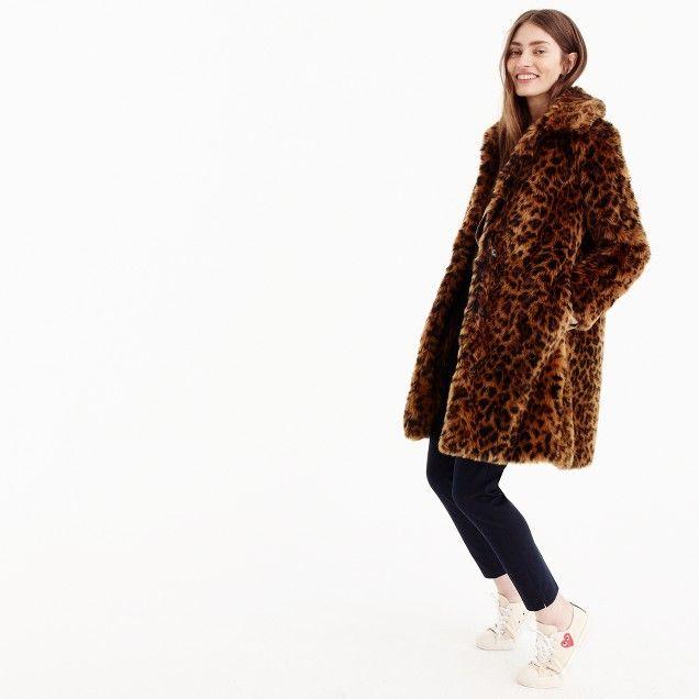 Faux-fur leopard coat : Women novelty | J.Crew