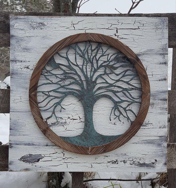 Reclaimed Wood Tree Of Life Wall Art Metal Wall Art Metal Tree