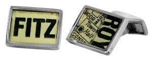 Fitzroy vintage street directory cufflinks in sterling silver - $150
