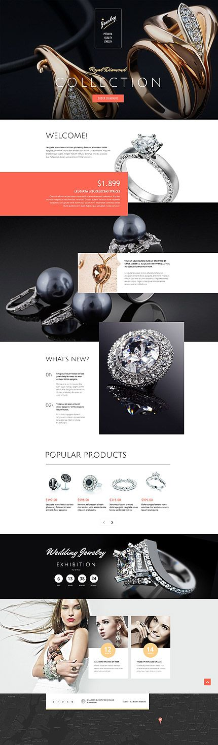 Template 53680 - Jewelry Brand  Responsive Landing Page Template #wordpress…