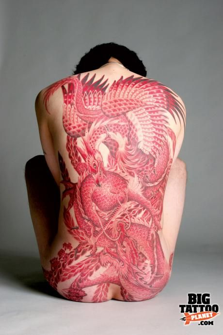 Phoenix and dragon fight with amazing red shadings  Horiren Yokohama.
