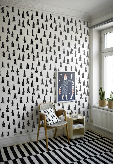 print-n-pattern:    via Fine Little Day: Pattern, Black And White, Trees Wallpapers, White Christmas, White Rooms, Black White, Tree Wallpaper, Christmas Trees, Kids Rooms