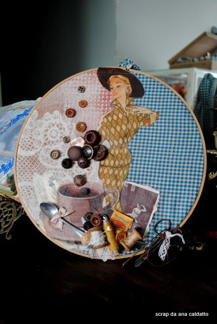 Altered - Vintage Embroidery Hoop Art                                                                                                                                                                                 Mais