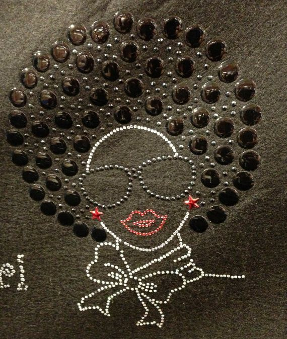 Afro lady Rhinestone Transfer Design Iron On Hot Fix Heat Transfer Motif Bling Appliqué - DIY