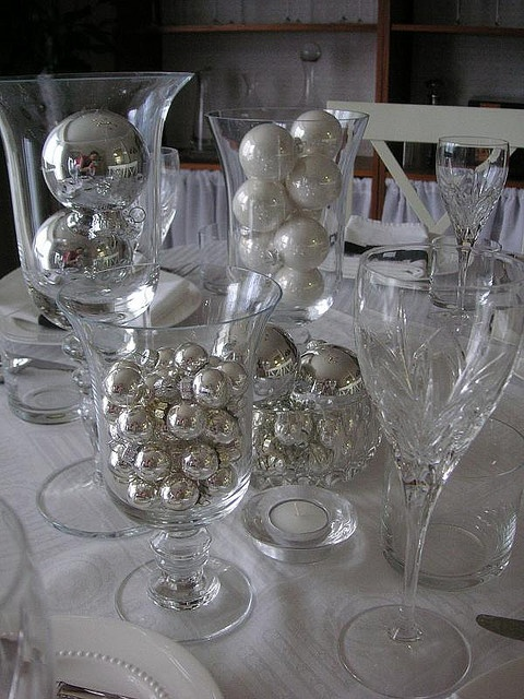 Black White Silver Table Setting Silver Christmas