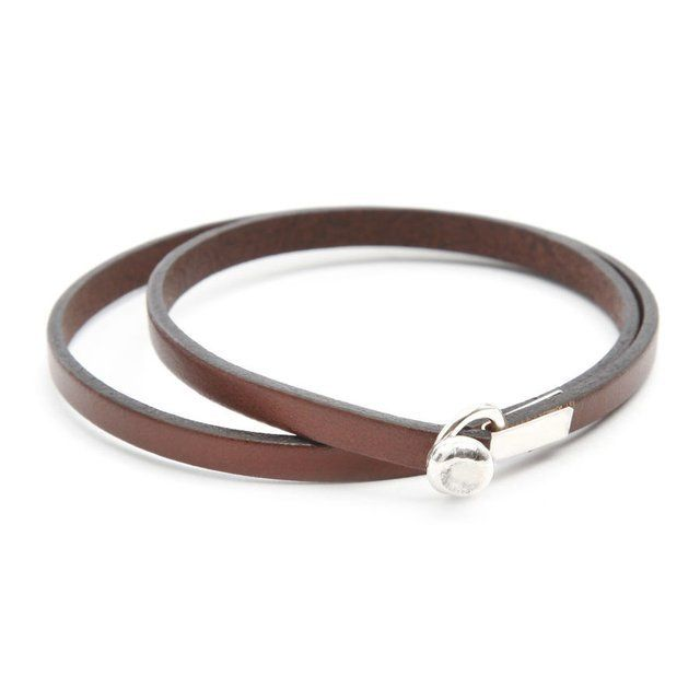 Joseph 18 Brown Bracelet by Gilbert Gilbert.  Brown leather bracelet with a 925e silver clasp.  Made in France.